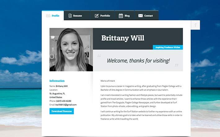 Aspiring Freelance Writer Ejemplo de sitio web de reanudación
