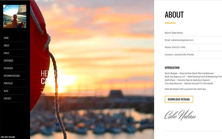 Founder Ejemplo de sitio web de reanudación