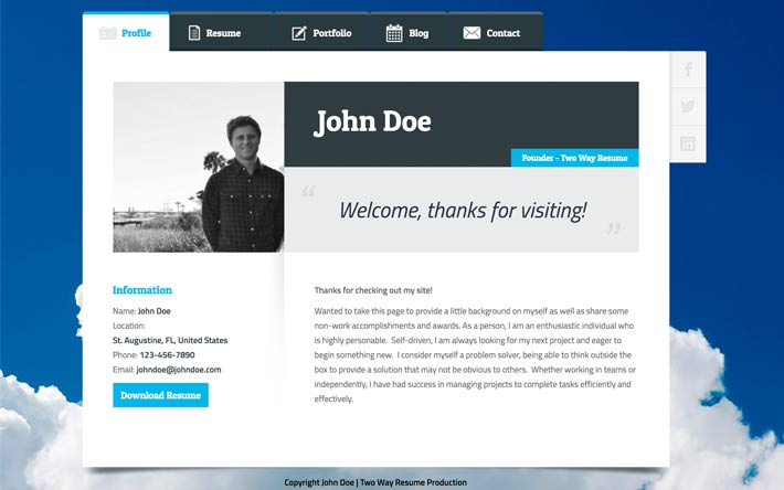 Create A Resume Website, Build A Personal Website & Portfolio