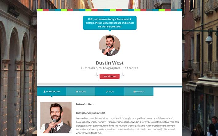 Filmmaker, Videographer, Podcaster Resume Website Example
